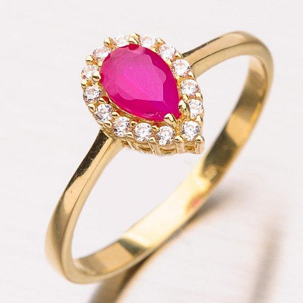 Prsten s rubínem ze žlutého zlata 11-208