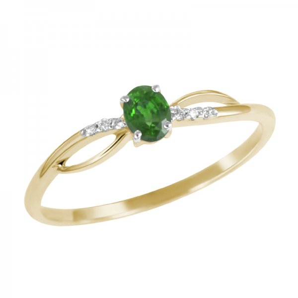 Prsten s diamanty a smaragdem GKW46582SMAR