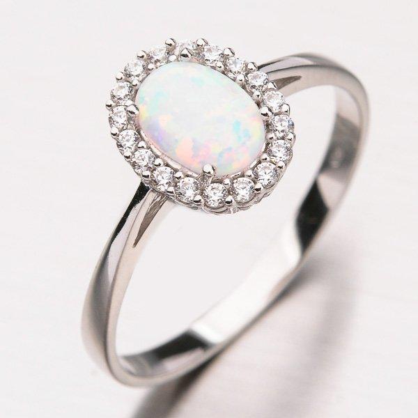 Zlatý prsten s opálem a zirkony 11-219
