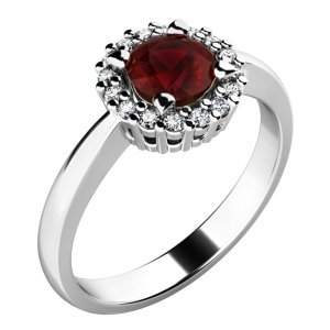 Dámský prsten s granátem a brilianty 10924-B-GRA