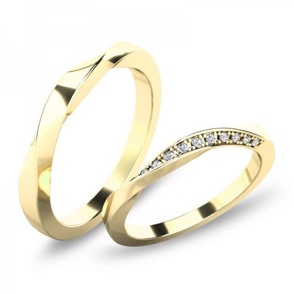 Moderní snubní prsteny - žluté zlato SP-61080Z