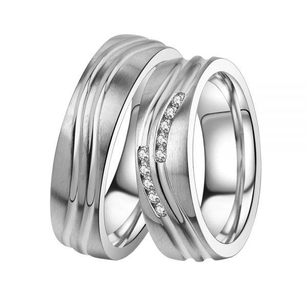 Ocelové snubní prsteny se zirkony ST-88091