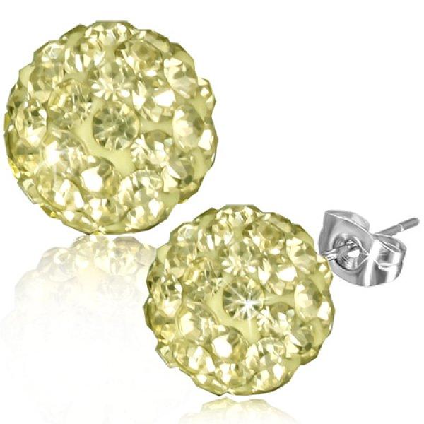 Náušnice se žlutými kamínky GXRY334