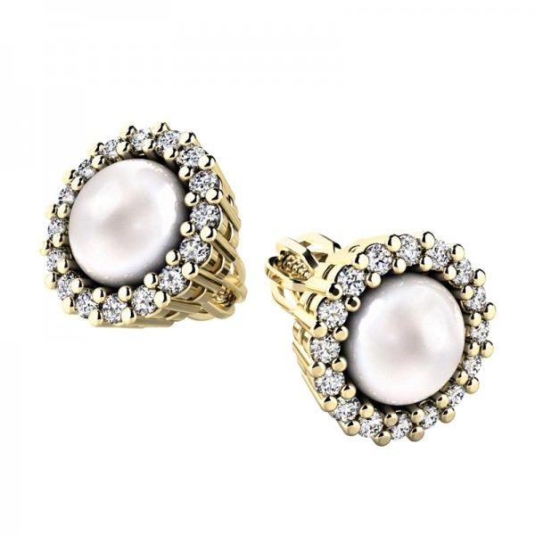 Perlové náušnice s diamanty 10930-ZL-FW
