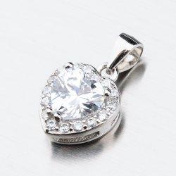 Stříbrné srdce se zirkony HST-13266