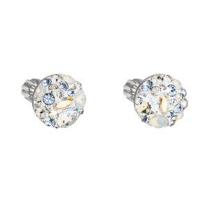 Stříbrné náušnice pecka s krystaly Swarovski modré kulaté 31336.3 light sapphire 31336.3