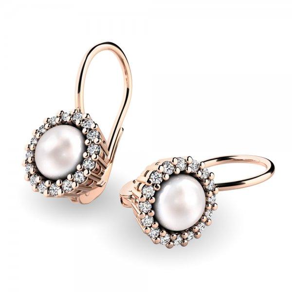 Perlové náušnice s diamanty 10929-CV-FW