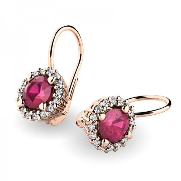 Luxusní náušnice s diamanty 10925-CV-RUB