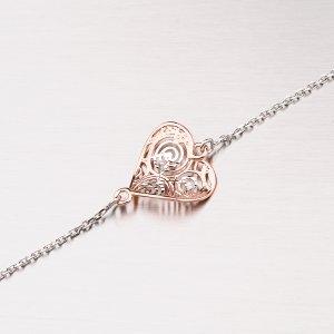 Stříbrný náramek se zlaceným srdíčkem 92003043-56-SLX