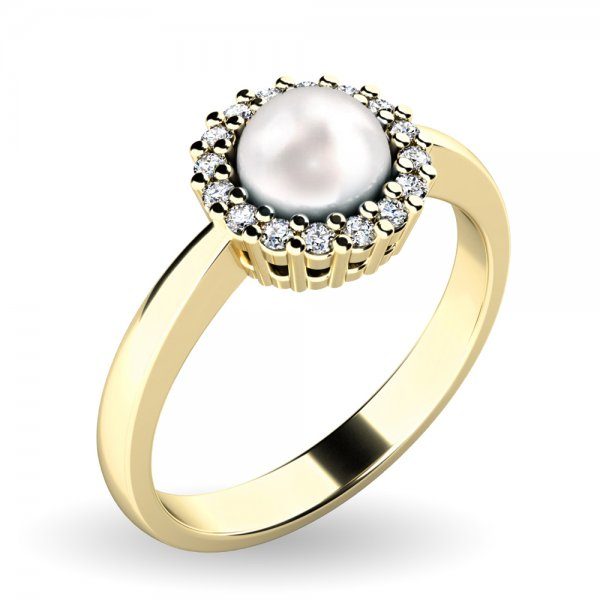 Perlový prsten s diamanty 10928-ZL