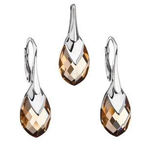 Sada šperků s krystaly Swarovski náušnice a přívěsek zlatá slza 39169.4 39169.4