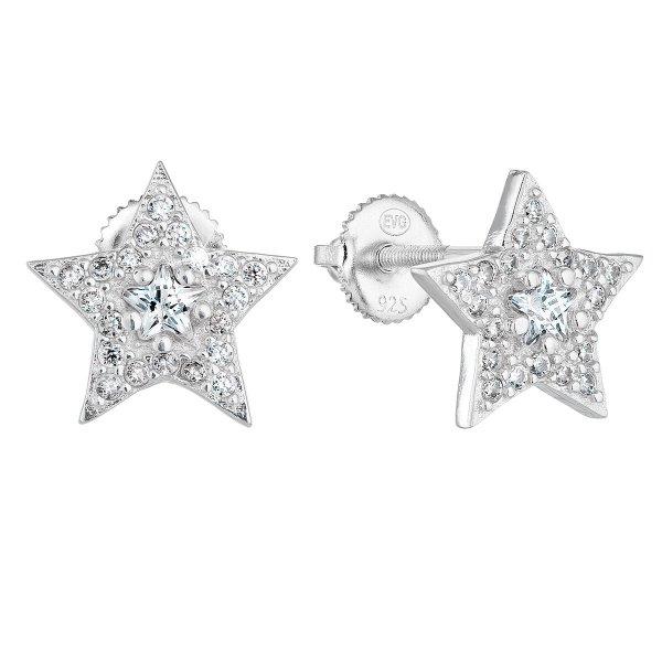 Stříbrné náušnice pecka se zirkonem bílá hvězdička 11282.1 11282.1