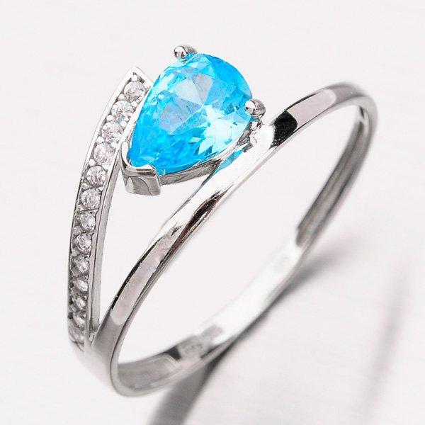 Prsten s modrým zirkonem 11-227