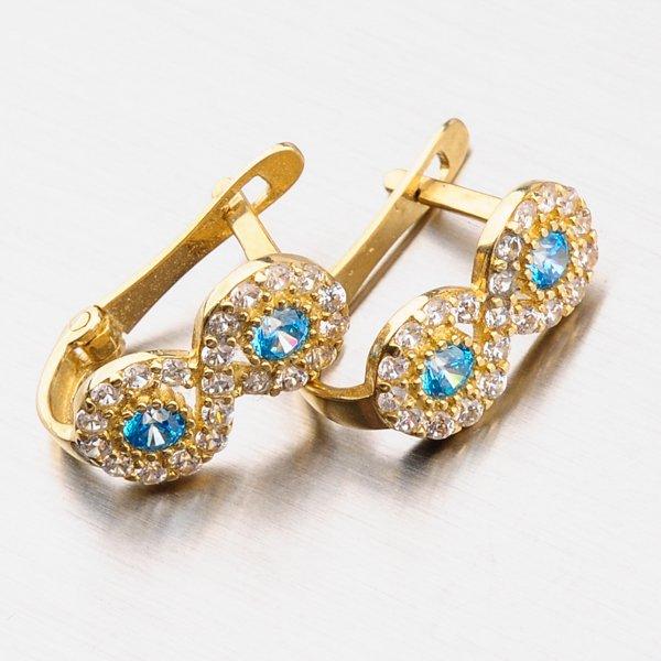 Zlaté náušnice se zirkony 12-467