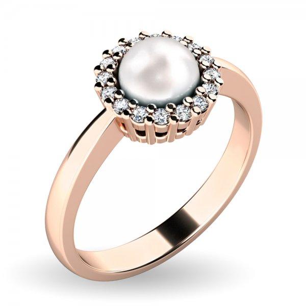 Perlový prsten s diamanty 10928-CV