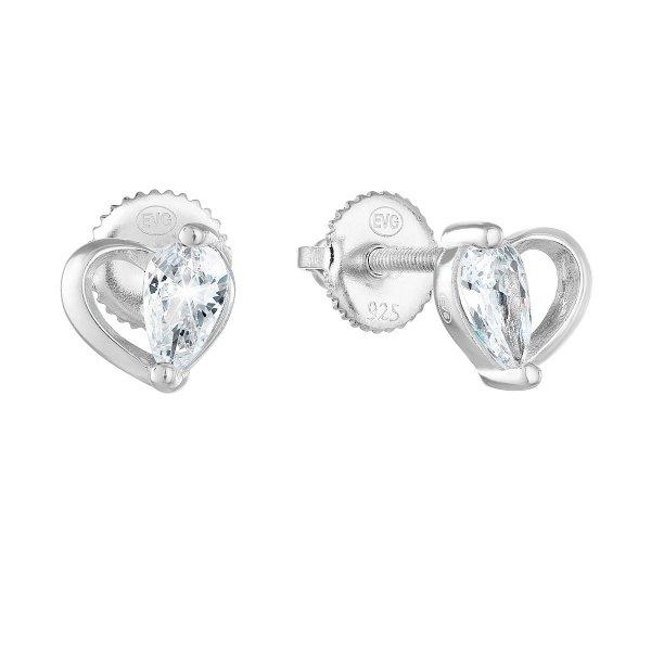 Stříbrné náušnice pecka se zirkonem bílé srdce 11260.1 11260.1