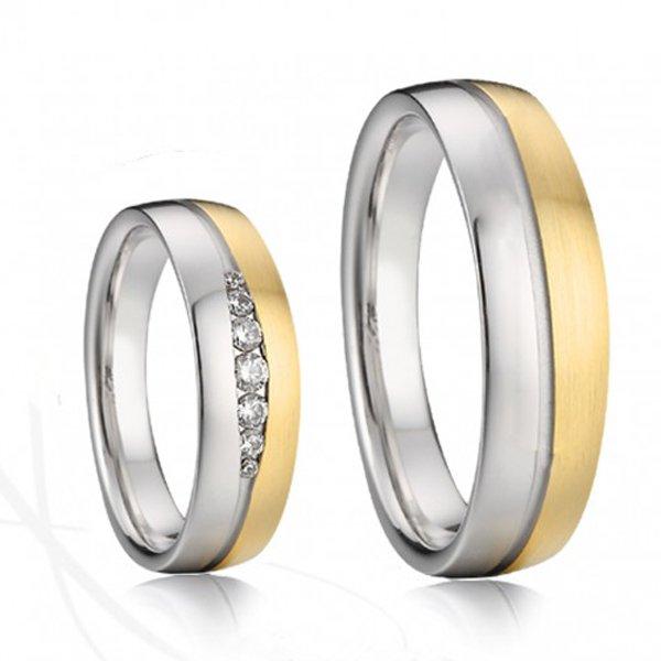 Ocelové snubní prsteny se zlacením SP-7042