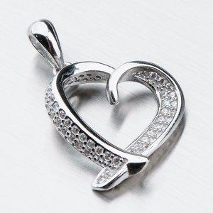 Stříbrné srdce se zirkony HST-13109