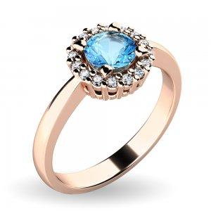 Dámský prsten s topazem a brilianty 10924-CV-TPZ