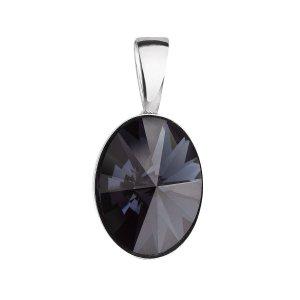 Stříbrný přívěsek s krystalem Swarovski černý ovál 34245.3 34245.3