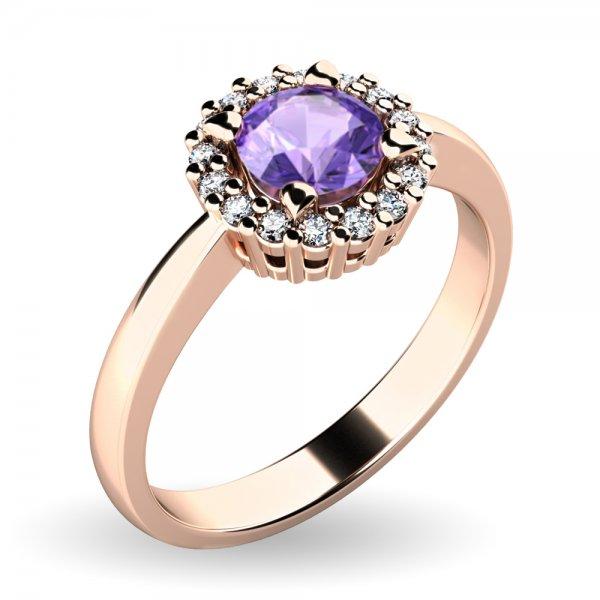 Dámský prsten s tanzanitem a brilianty 10924-CV-TZN