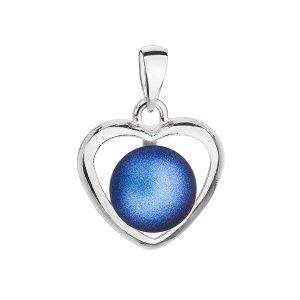 Stříbrný přívěsek s tmavěmodrou matnou Swarovski perlou srdce 34246.3 34246.3