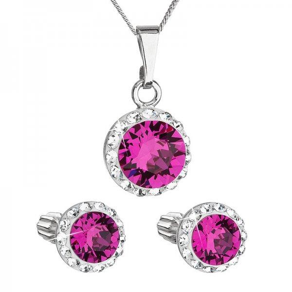 Sada šperků s krystaly Swarovski náušnice a přívěsek růžové kulaté 39352.3 fuchsia 39352.3 FUCHSIA