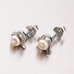 Stříbrné náušnice s perlou EXX30180013