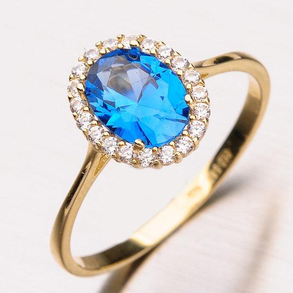 Prsten s akvamarínem a zirkony 11-205