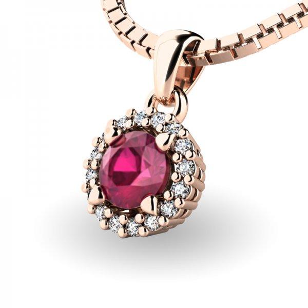 Luxusní přívěsek s rubínem a diamanty 10927-CV-RUB