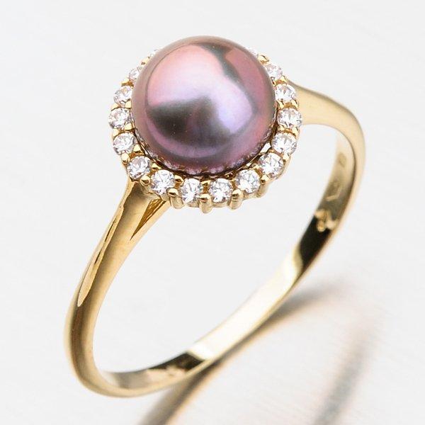 Prsten s perlou a zirkony 11-254