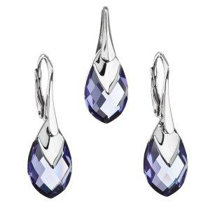 Sada šperků s krystaly Swarovski náušnice a přívěsek fialová slza 39169.4 tanzanite 39169.4