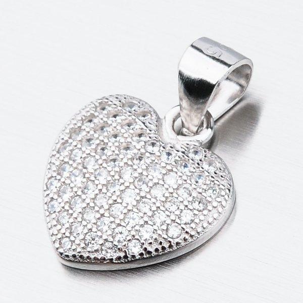 Stříbrné srdce se zirkony HST-13407