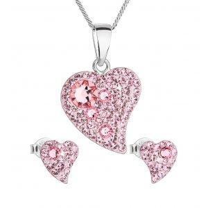Sada šperků s krystaly Swarovski náušnice a přívěsek růžová srdce 39170.3 light rose 39170.3