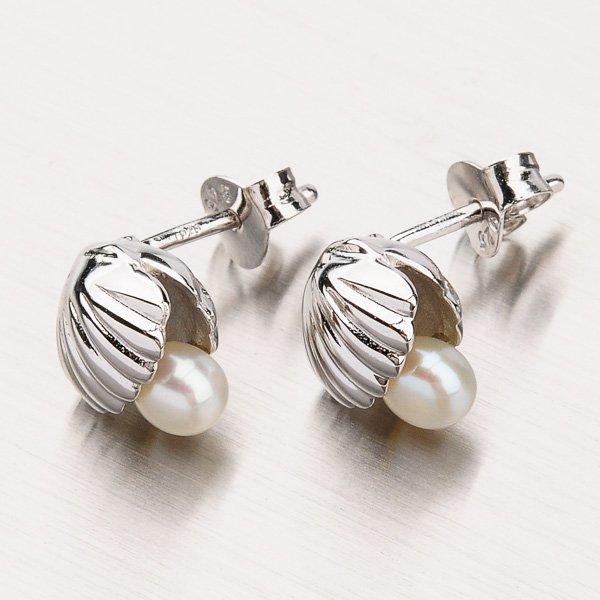 Stříbrné náušnice s perlou EXX01180277
