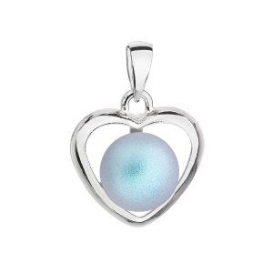 Stříbrný přívěsek se světlemodrou matnou Swarovski perlou srdce 34246.3 34246.3