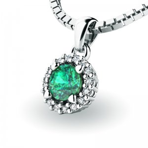 Luxusní přívěsek se smaragdem a diamanty 10927-B-SMAR