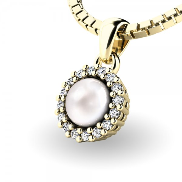 Perlový přívěsek s diamantem 10931-ZL-FW