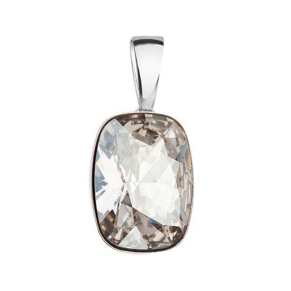 Stříbrný přívěsek s krystaly Swarovski šedý obdélník 34244.5 silver shade 34244.5