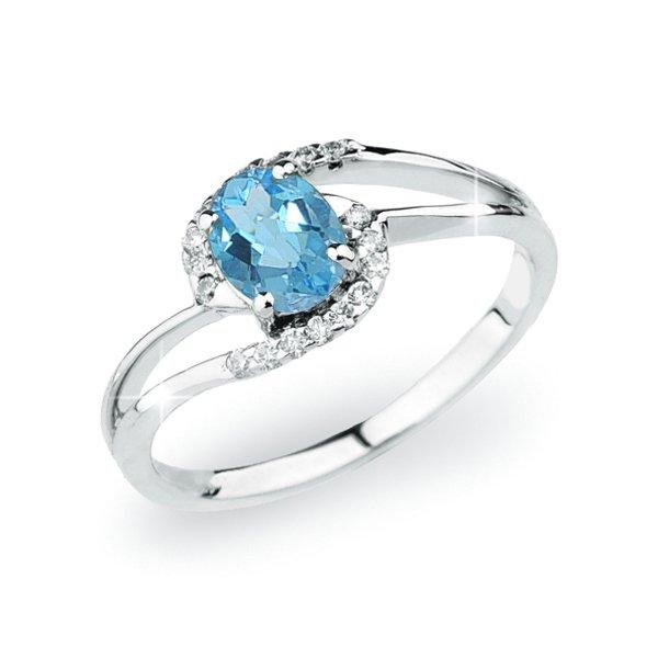 Prsten z bílého zlata s topazem a s diamanty GKW45110TPZ