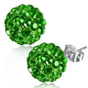 Náušnice se zelenými kamínky GXRY331