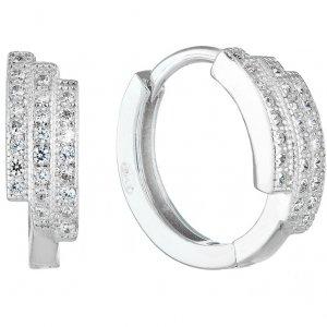 Stříbrné náušnice kruhy se zirkonem v bílé barvě 11240.1 11240.1