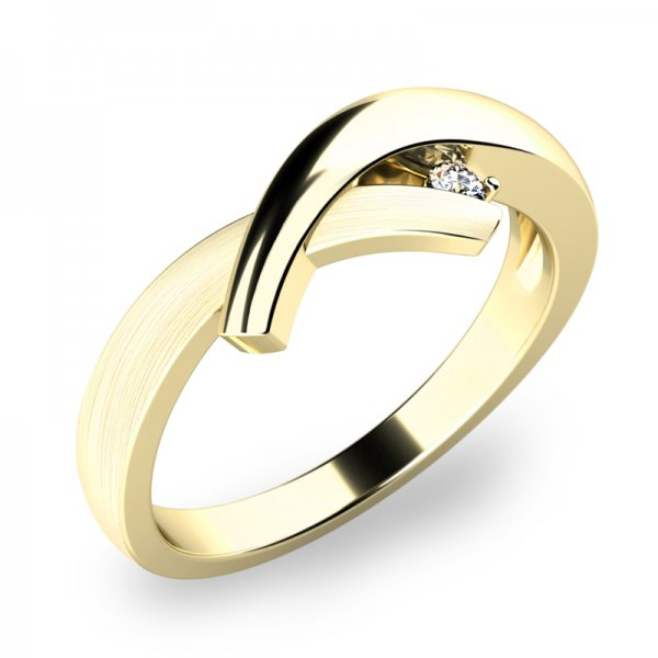 Prsten s diamantem ze žlutého zlata 10853-DIA