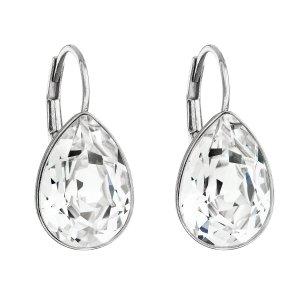 Stříbrné náušnice visací s krystaly Swarovski bílá slza 31231.1 31231.1