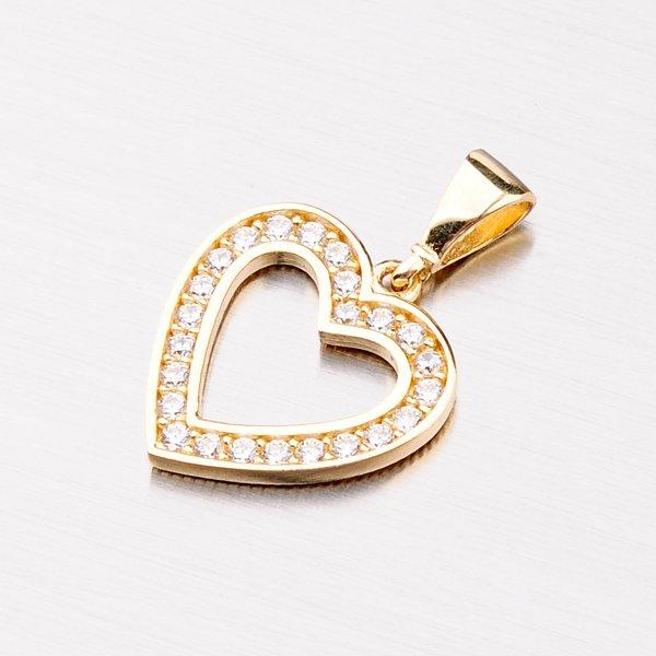 Zlaté srdce se zirkony 13-297