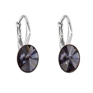 Stříbrné náušnice visací s krystaly Swarovski černý ovál 31276.3 31276.3