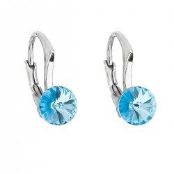 Stříbrné náušnice visací s krystaly Swarovski modré kulaté 31230.3 aquamarine 31230.3