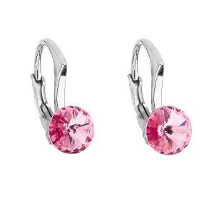 Stříbrné náušnice visací s krystaly Swarovski růžové kulaté 31230.3 31230.3