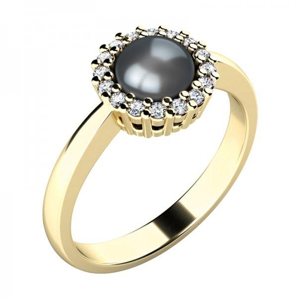 Perlový prsten s diamanty 10928-ZL-FW-Black