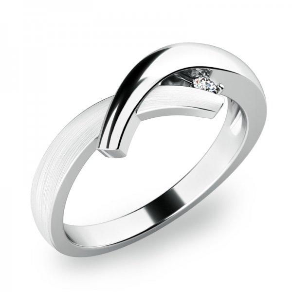 Prsten s diamantem z bílého zlata 10853-DIA